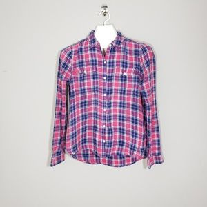 So pink flannel shirt Girls Large